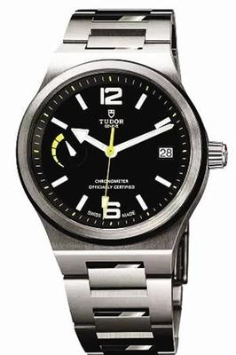 Tudor North Flag fake watches with black dials in luminous time scales and hands.