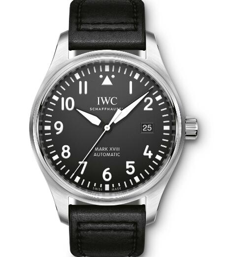 The white hour markers are striking on the black dial.
